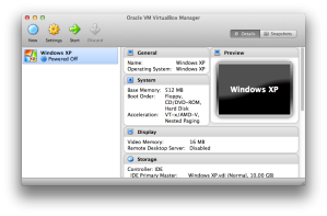 VirtualBox with Windows XP on a virtual machine.